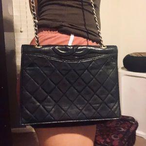 Chanel vintage quilted black flap shoulder bag